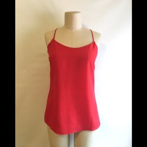 J. Crew Red Cami Tank Shirt Blouse Silky 2